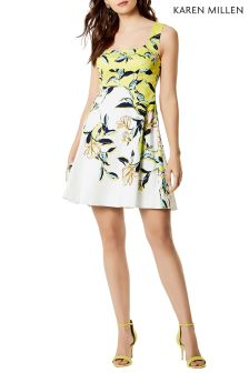 Karen Milen Green Magnolia Floral Print On Cotton Dress