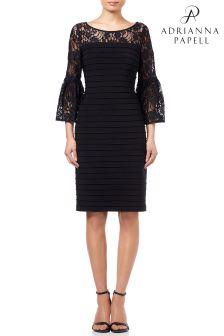 Adrianna Papell Black Matte Jersey Lace Dress