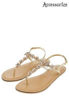 Accessorize Gold Irun Jewelled Sandal