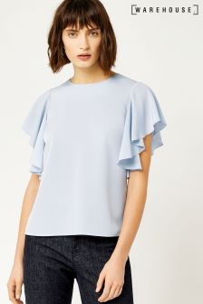 Warehouse Pale Blue Ruffle Tee