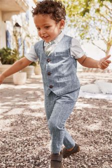Linen Blend Waistcoat Set With Shirt And Tie (3mths-6yrs)