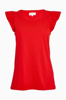 Broderie Ruffle Sleeve Top