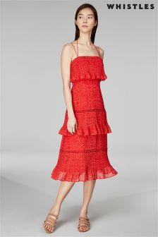 Whistles Skylar Riya Print Pleated Tiered Dress