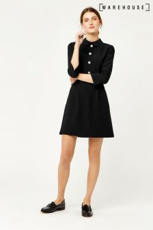 Warehouse Black Diamanté Button Dress