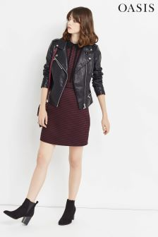 Oasis Burgundy Puppytooth Shift Dress
