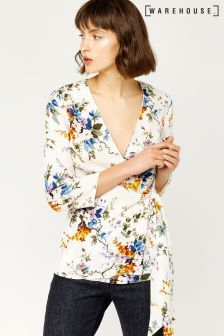 Warehouse Cream Trailing Floral Wrap Top