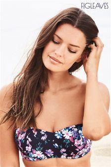 Figleaves Pink Dahlia Underwired Bandeau Bikini Top