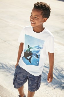 Dip Dye Shark Print T-Shirt (3-16yrs)