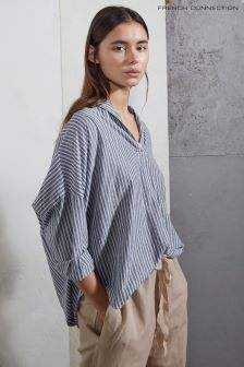 French Connection Blue Tatus Stripe Pop Over Shirt