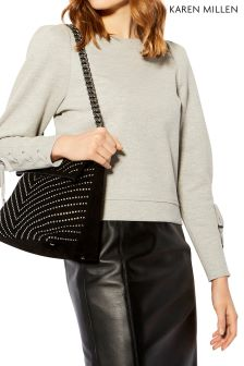 Karen Millen Grey Eyelet Cuff Detail Sweat