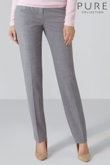 Pure Collection Grey Slim Leg Wool Blend Trouser