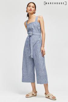 Warehouse Blue/White Button Culotte Stripe Jumpsuit