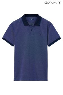GANT Navy Four Colour Oxford Short Sleeved Pique Poloshirt