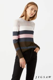 Jigsaw Green Bold Stripe Jumper