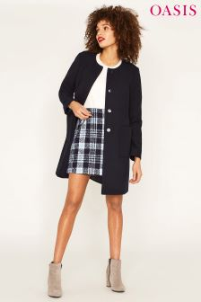 Oasis Collarless Blue Coat