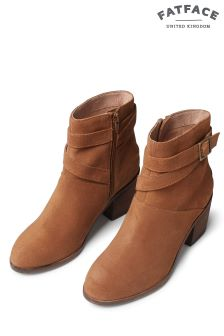 Fat Face Tan Emily Buckle Suede Ankle Boot