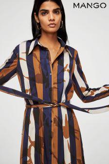 Mango Terracotta/White/Navy Stripe Midi Dress