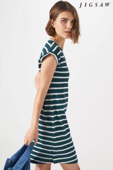 Jigsaw Blue V-Neck Breton T-Shirt Dress
