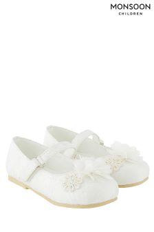 Monsoon Cream Lace Pom Pom Walker Shoe