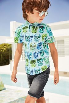 Short Sleeve Skull Print Shirt (3-16yrs)