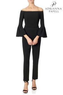 Adrianna Papell Black Knitcrepe Jumpsuit