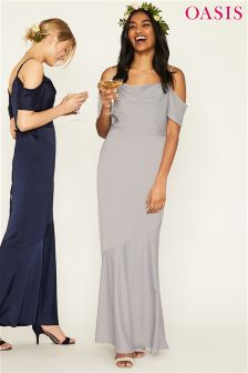 Oasis Grey Amy Slinky Cowl Neck Maxi Dress