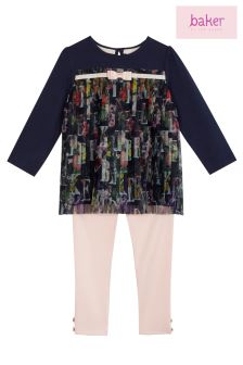 baker by Ted Baker Navy/Pink Printed Top And Legging Set