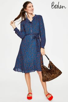 Boden Riviera Blue Daisy Melissa Ruffle Neck Dress