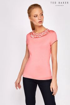 Ted Baker Charre Pink Bow Neck T-Shirt