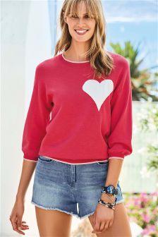 Short Sleeve Heart Sweater