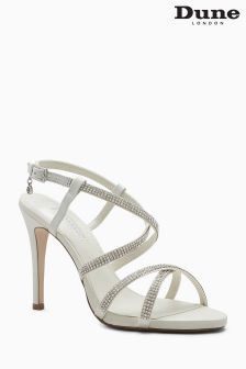 Dune Mansionn Ivory Diamanté Cross Over Sandal