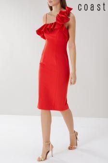 Coast Red Lina Ruffle Shift Dress