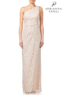 Adrianna Papell Blush One Shoulder Lace Dress