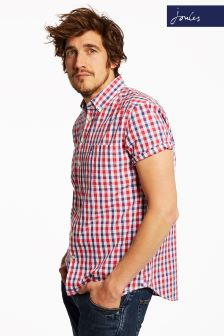 Joules Navy Pink Gingham Short Sleeve Shirt