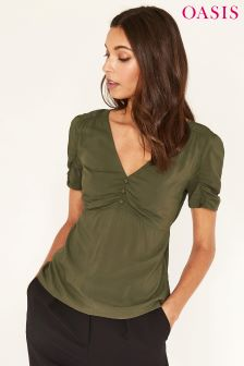 Oasis Ruched Green Front Frill Top