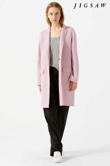 Jigsaw Pink One Button Double Face Coat