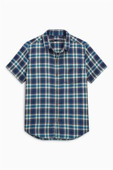 Short Sleeve Washed Check Shirt (3-16yrs)