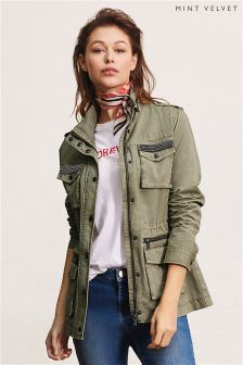 Mint Velvet Green Four Pocket Utility Embellished Jacket