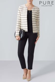 Pure Collection White Striped Tailored Jacket