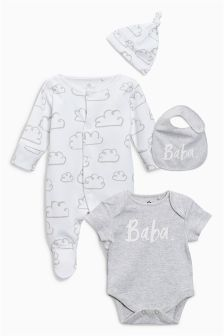 Baba Slogan Sleepsuit, Short Sleeved Bodysuit, Bib And Hat (0-6mths)