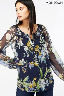 Monsoon Blue Ophelia Silk Print Blouse