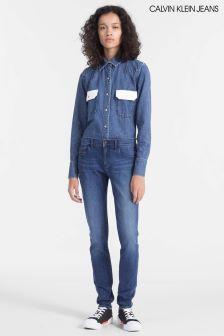 Calvin Klein Blue Mid Rise Skinny Jean