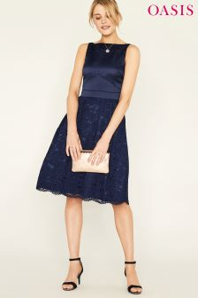 Oasis Blue Darcey Satin Bodice Lace Midi Dress