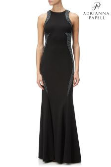 Adrianna Papell Black Embellished Long Dress