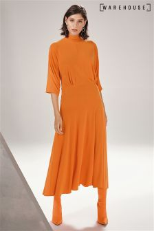 Warehouse Orange Gathered Waist Dress