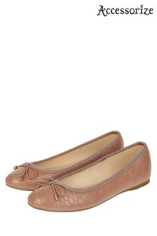 Accessorize Pink Coralie Snake Ballerina Shoe