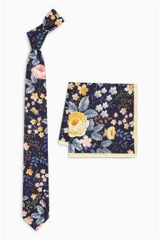 Floral Tie And Pocket Square Set