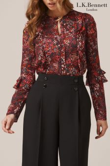 L.K.Bennett Robin Red Floral Silk Woven Top
