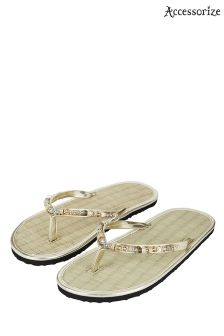 Accessorize Memphis Gold Beaded Seagrass Flip Flop