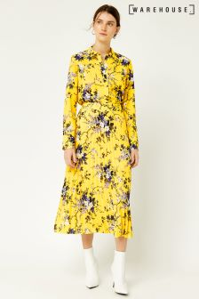 Warehouse Yellow Trailing Floral Pleated Skirt